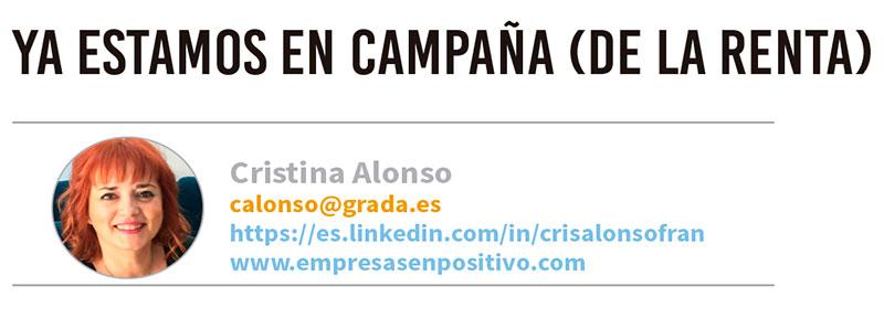 Ya estamos en campaña (de la Renta). Grada 122. Cristina Alonso