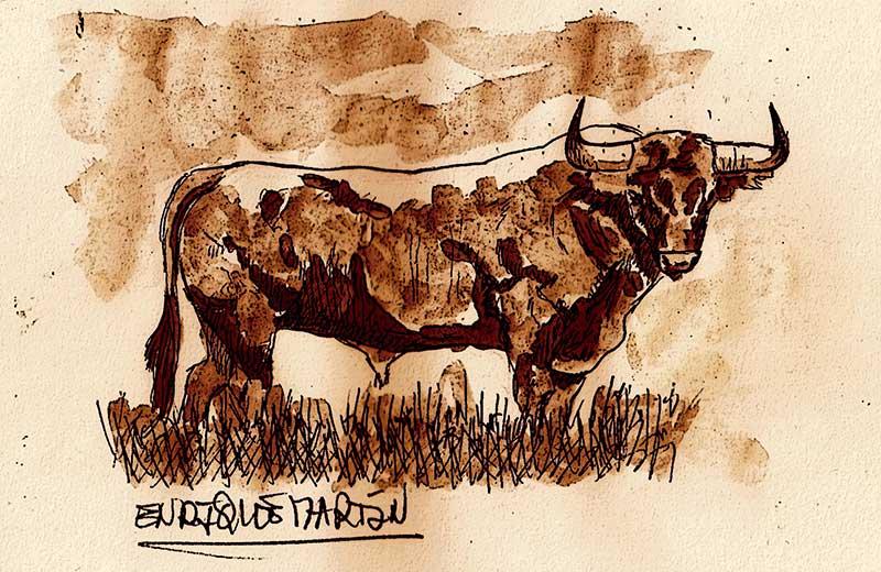 Luis Mazzantini y seis toros de Miura. Grada 124. Toros