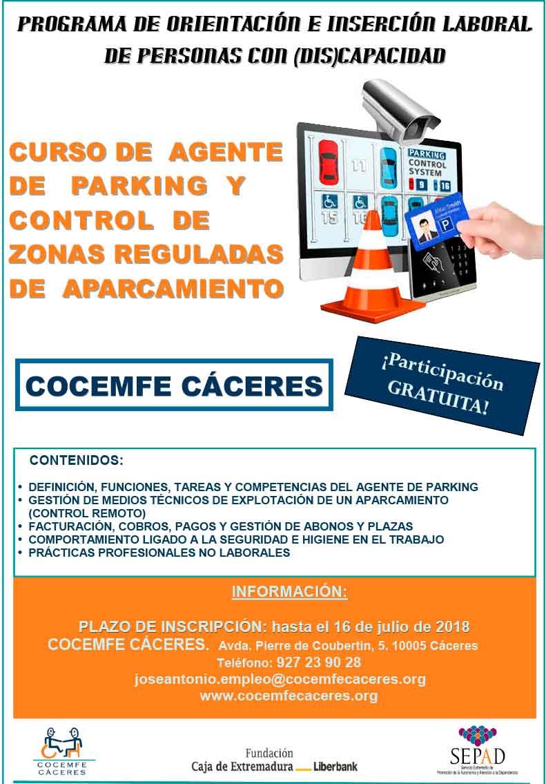 Cocemfe Cáceres imparte un curso de agente de control de zonas reguladas de aparcamiento