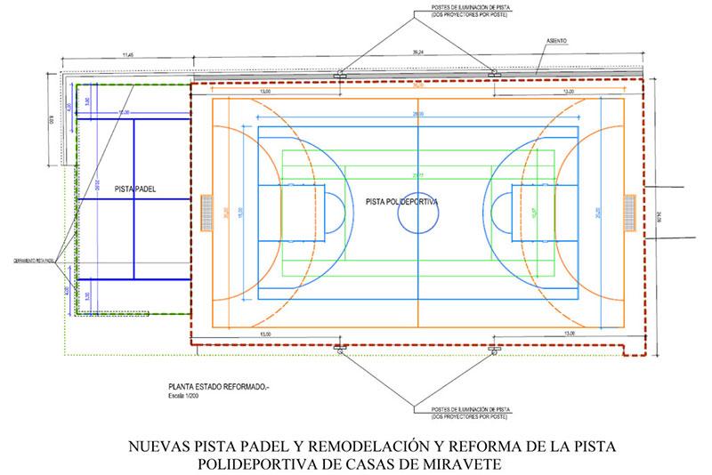 La Diputación de Cáceres reformará la pista polideportiva de Casas de Miravete y añadirá una de pádel