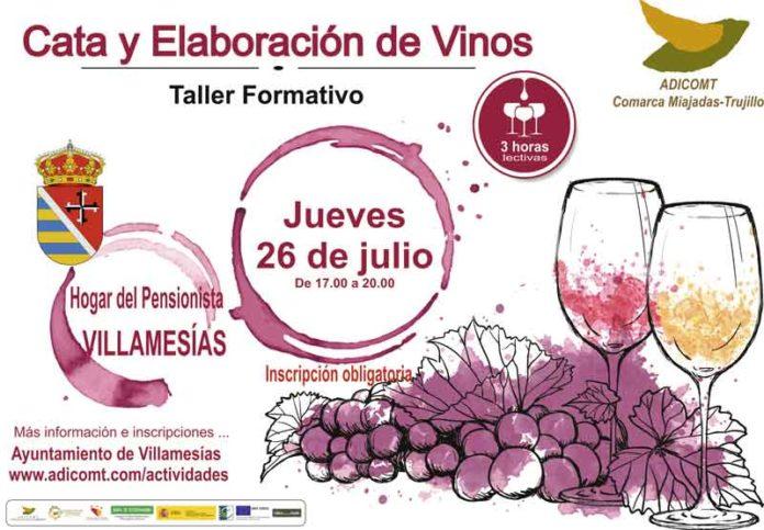 talleres sobre cata y elaboración de vinos en la comarca Miajadas-Trujillo Adicomt