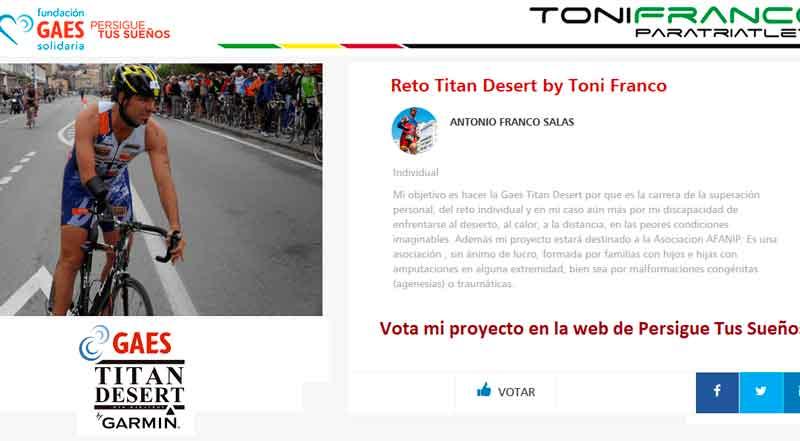 El triatleta Toni Franco puede ser becado por la Fundación Gaes para participar en la Titan Desert