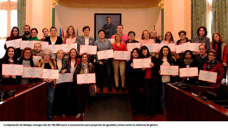 La Diputación de Badajoz colabora con proyectos de igualdad y lucha contra la violencia de género
