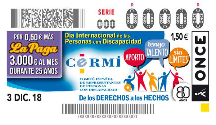 La ONCE lleva el Día Internacional de las Personas con Discapacidad en 5,5 millones de cupones