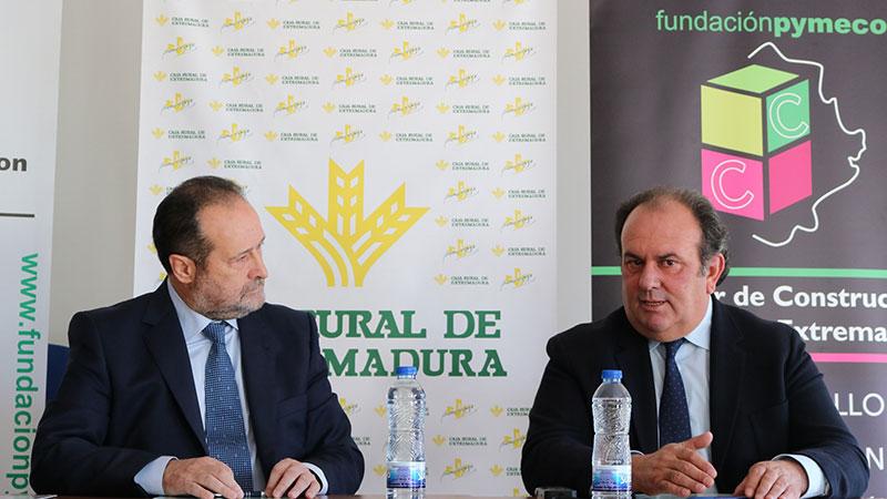 Caja Rural de Extremadura y Pymecon firman un convenio de colaboración para apoyar al sector de la construcción