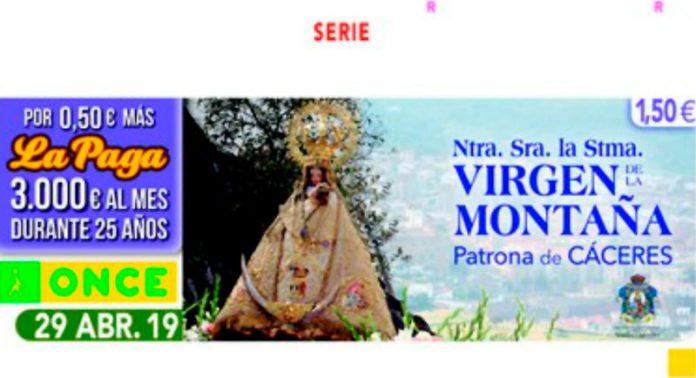 La Virgen de la Montaña, patrona de Cáceres, protagoniza el cupón de la ONCE