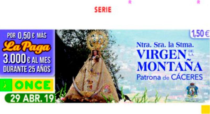 La Virgen de la Montaña, Patrona de Cáceres, en el cupón de la ONCE