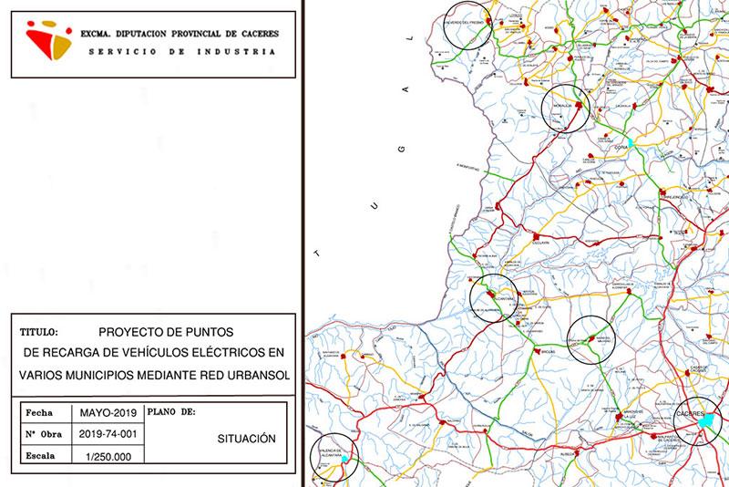 La Diputación de Cáceres instalará puntos de recarga eléctrica y marquesinas solares en varios municipios de la provincia