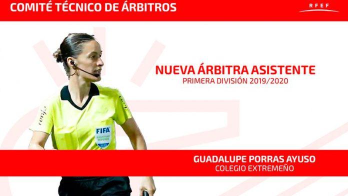 Guadalupe Porras será la primera árbitra asistente en la máxima categoría del fútbol masculino profesional en España