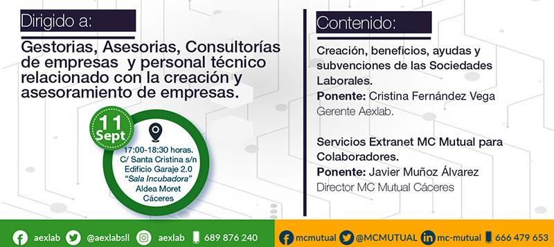 Cáceres acogerá una jornada sobre sociedades laborales organizada por Aexlab