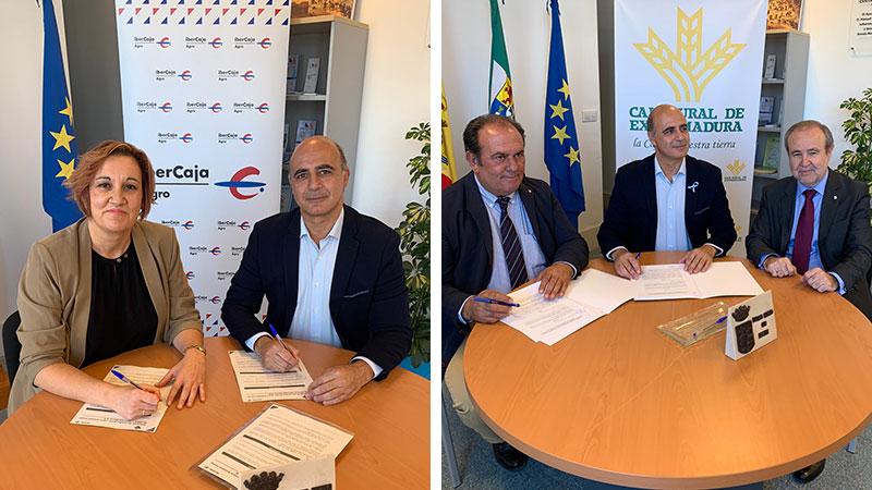La entidad ferial de Zafra suscribe sendos convenios con Ibercaja y Caja Rural de Extremadura