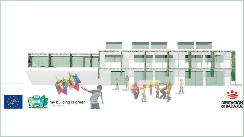 'LIFE MyBuildingisGreen' ofrece soluciones para la adaptación de edificios al cambio climático. Grada 139. Diputación de Badajoz