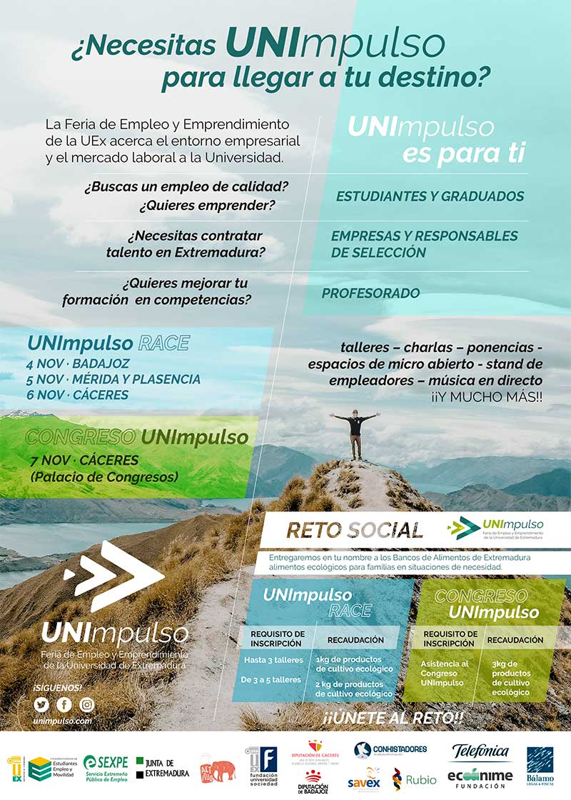 La Universidad de Extremadura organiza la IV Feria de empleo y emprendimiento universitario y de Formación profesional