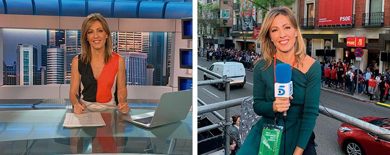Ángeles Blanco presentando los informativos de Telecinco y junto a la sede del PSOE en Madrid. Fotos: Cedidas