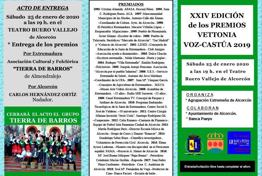 Díptico sobre los Premios Vettonia Voz-Castúa 2019