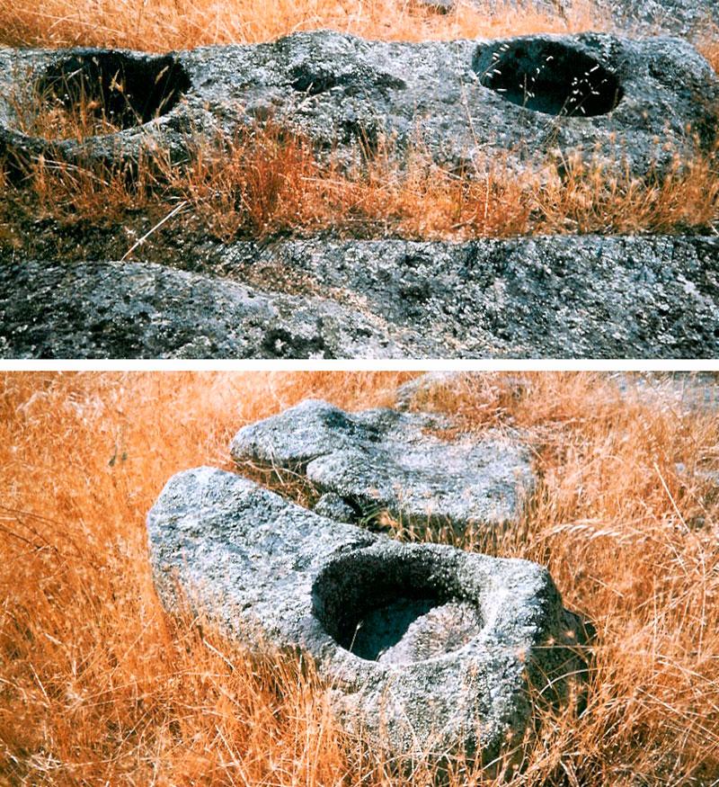 Comederos excavados en la roca, en la huerta del convento. Fotos: Cedidas