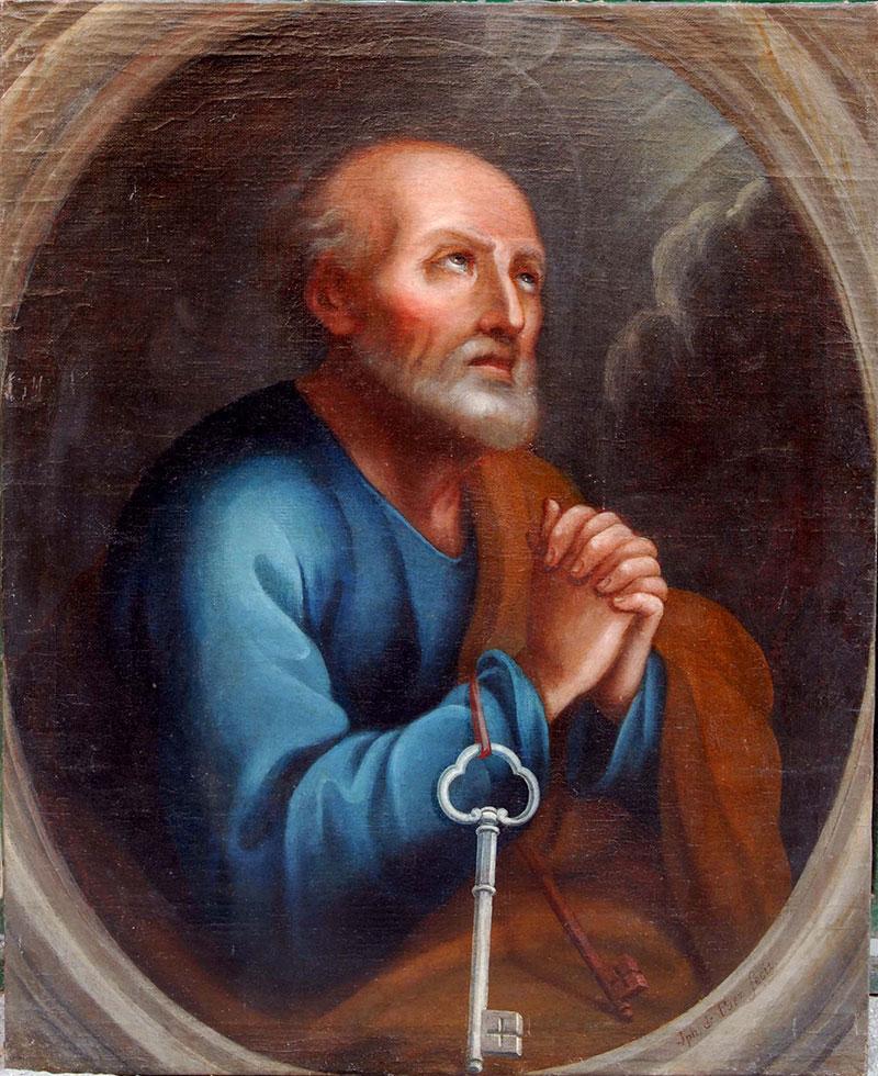 Oleo sobre lienzo de San Pedro Apóstol. Foto: Cedida