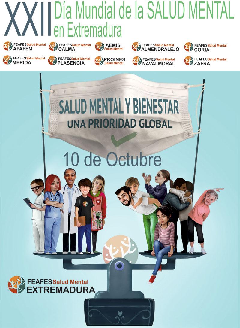 Cartel del Día mundial de la salud mental en Extremadura