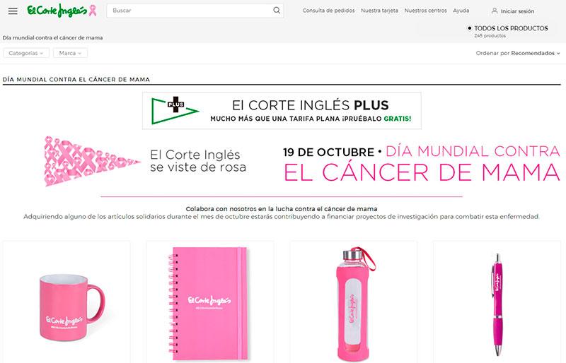 Microsite de El Corte Inglés con motivo del Día mundial contra el cáncer de mama