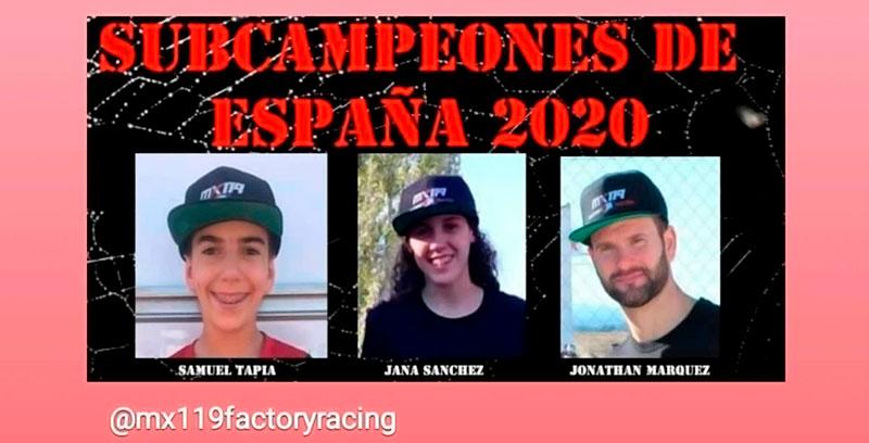 Tres pilotos patrocinados por MX119 Factory Racing que han sido subcampeones de España