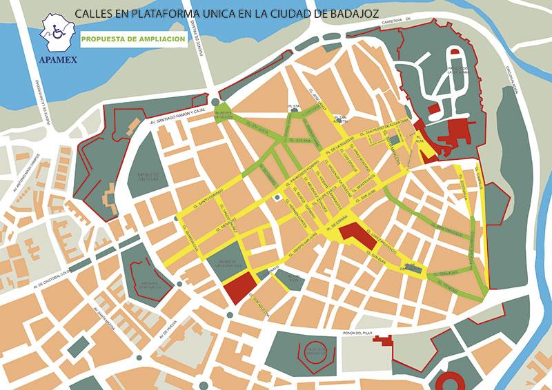 Mapa del casco antiguo de Badajoz con la propuesta de Apamex sobre la plataforma única