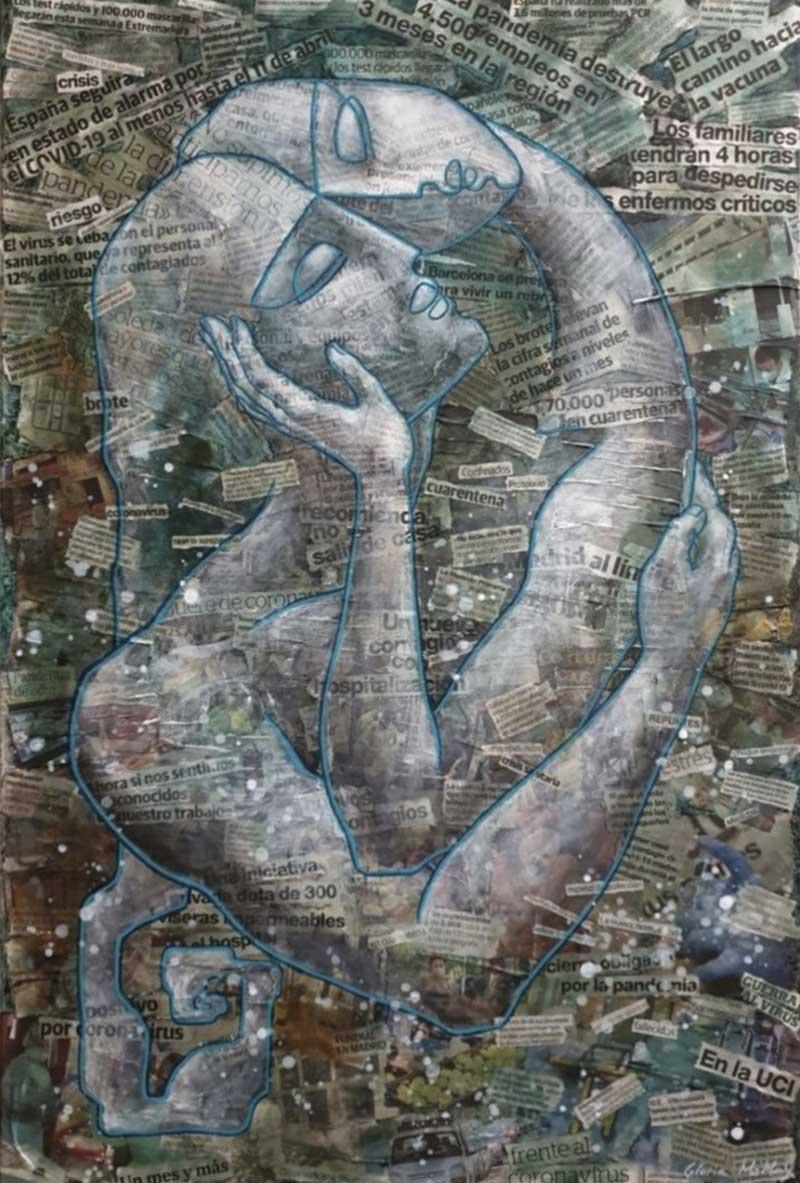 'Abrazo CoVid'. Gloria MoMay. Collage y acrílico sobre lienzo (70 x 100 cm). Obra realizada sobre titulares de prensa (abril-julio 2020)