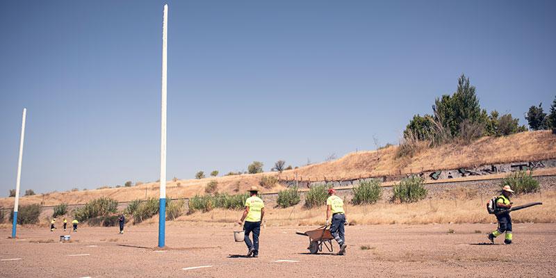 Obras del parking para autocaravanas. Foto Ayuntamiento de Mérida